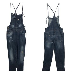 Zara Distressed Tie Denim Overalls Jumper